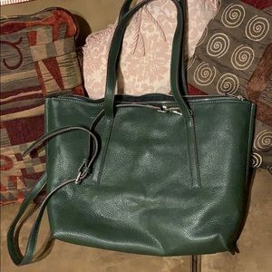 Street Level Hunter Green Leather Tote